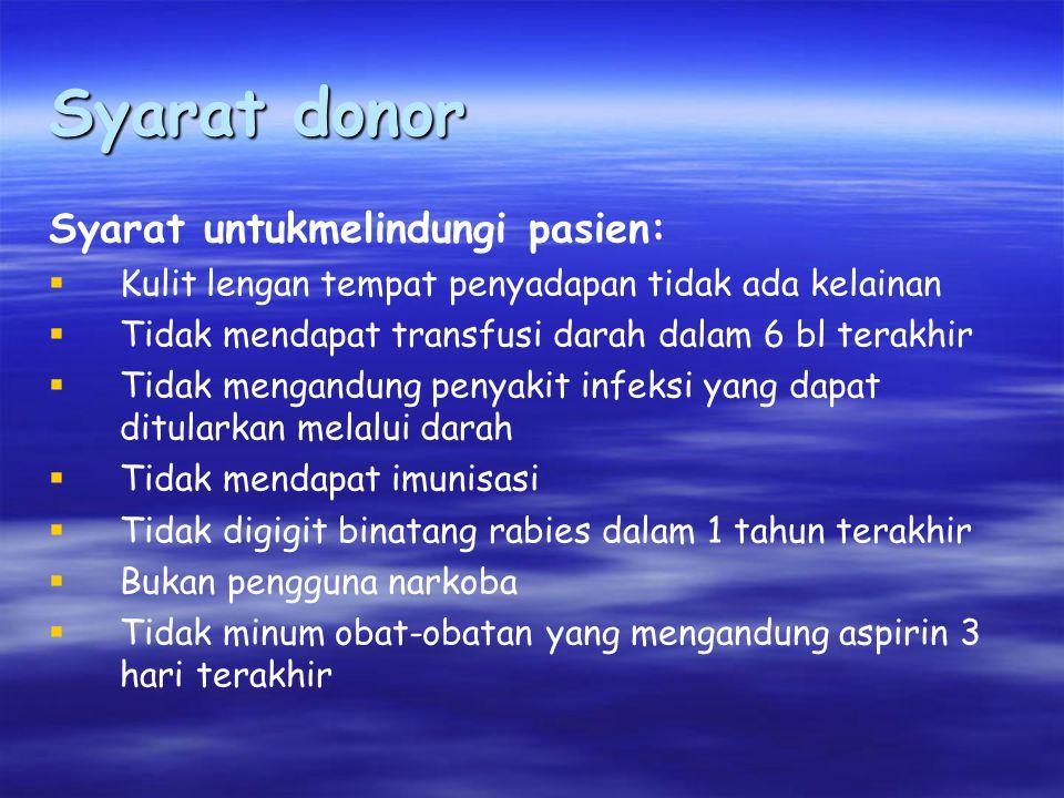 Syarat donor Syarat untukmelindungi pasien: