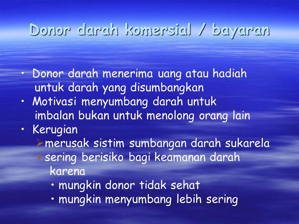 Donor darah komersial / bayaran