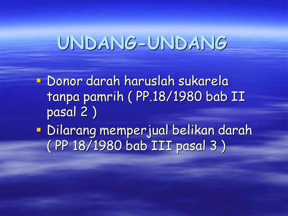 UNDANG-UNDANG Donor darah haruslah sukarela tanpa pamrih ( PP.18/1980 bab II pasal 2 )