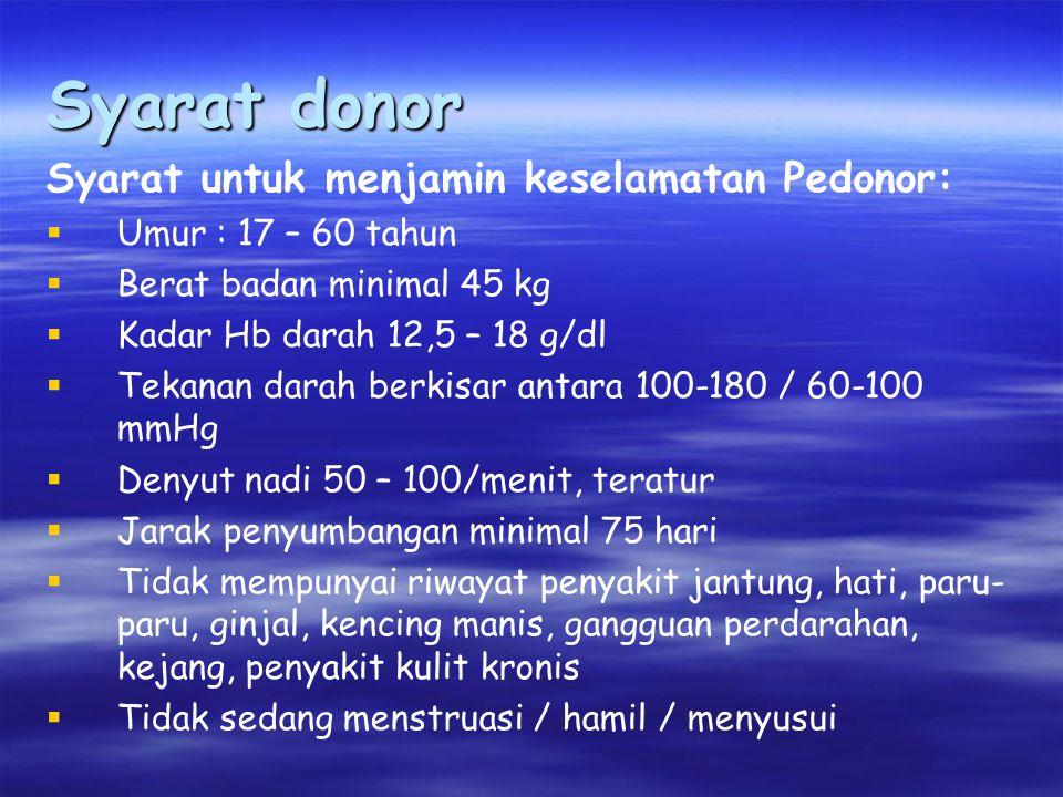 Syarat donor Syarat untuk menjamin keselamatan Pedonor: