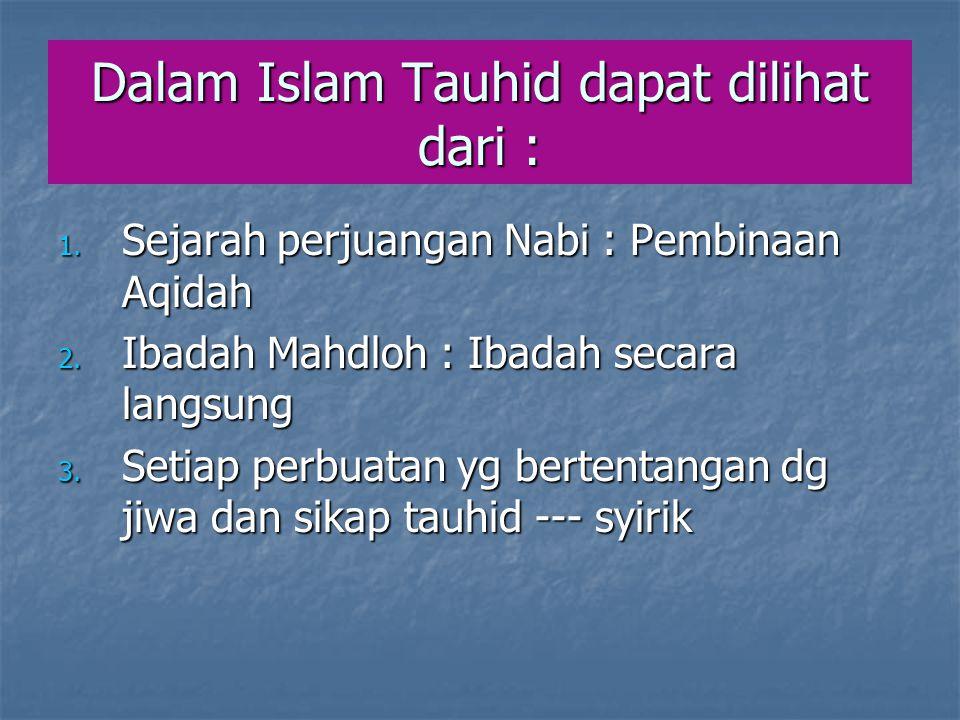 Dalam Islam Tauhid dapat dilihat dari :