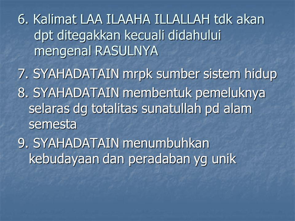 6. Kalimat LAA ILAAHA ILLALLAH tdk akan dpt ditegakkan kecuali didahului mengenal RASULNYA