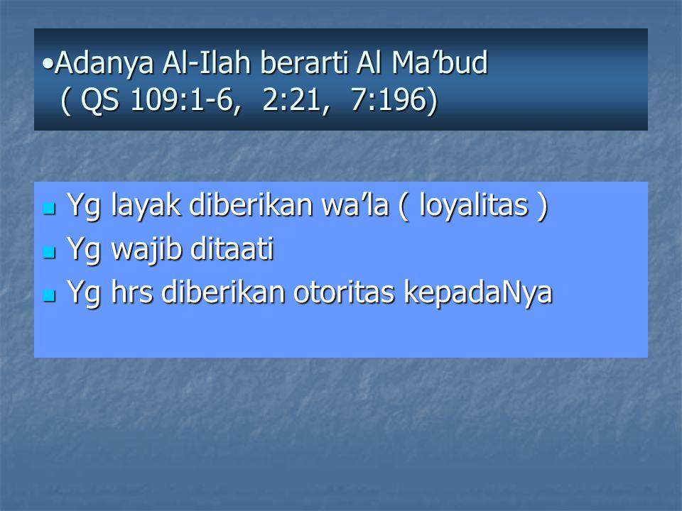 Adanya Al-Ilah berarti Al Ma'bud ( QS 109:1-6, 2:21, 7:196)