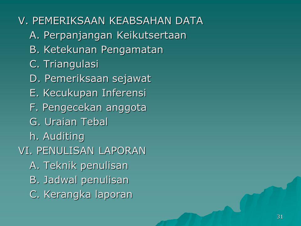 V. PEMERIKSAAN KEABSAHAN DATA