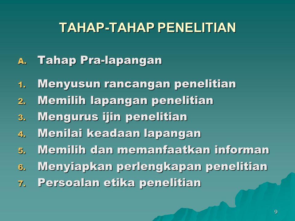 TAHAP-TAHAP PENELITIAN