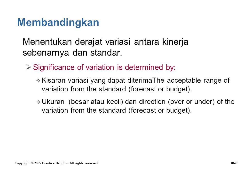 Membandingkan Menentukan derajat variasi antara kinerja sebenarnya dan standar. Significance of variation is determined by: