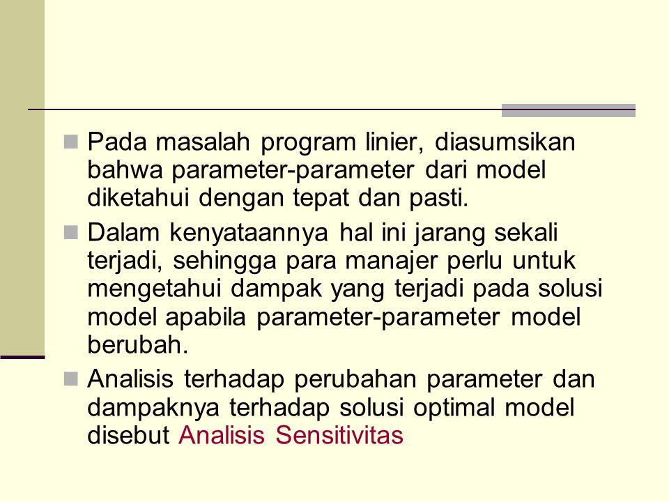 Pada masalah program linier, diasumsikan bahwa parameter-parameter dari model diketahui dengan tepat dan pasti.