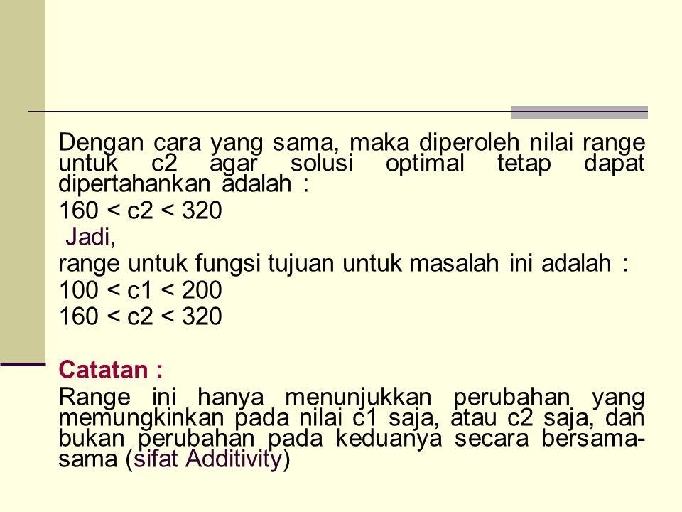 Dengan cara yang sama, maka diperoleh nilai range untuk c2 agar solusi optimal tetap dapat dipertahankan adalah : 160 < c2 < 320 Jadi, range untuk fungsi tujuan untuk masalah ini adalah : 100 < c1 < 200 Catatan : Range ini hanya menunjukkan perubahan yang memungkinkan pada nilai c1 saja, atau c2 saja, dan bukan perubahan pada keduanya secara bersama-sama (sifat Additivity)