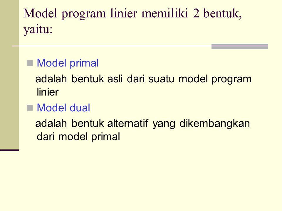 Model program linier memiliki 2 bentuk, yaitu: