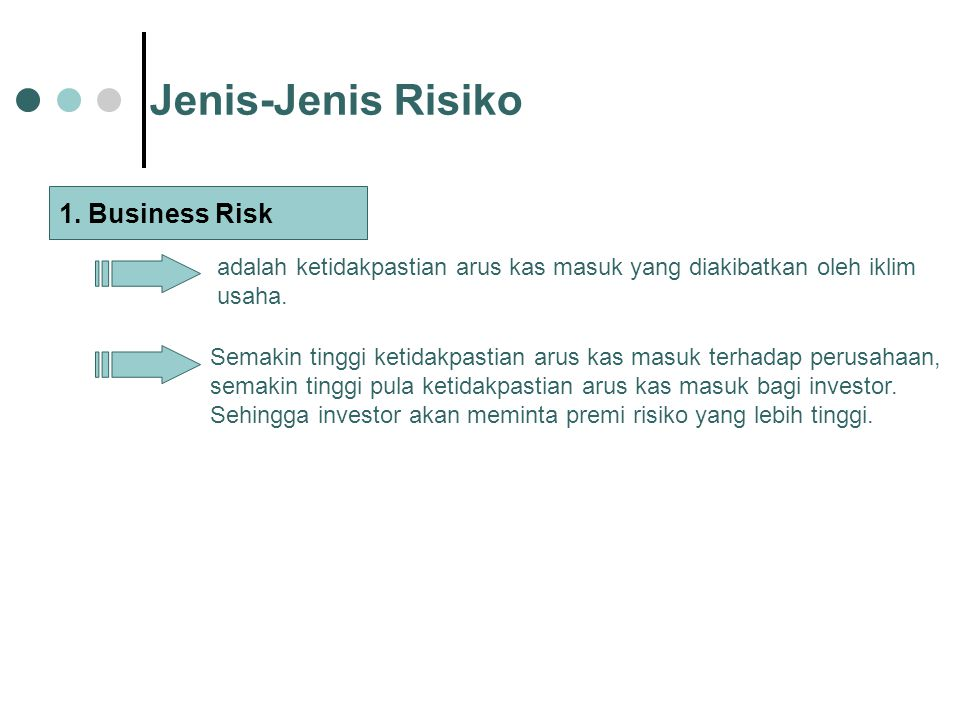 Jenis-Jenis Risiko 1. Business Risk