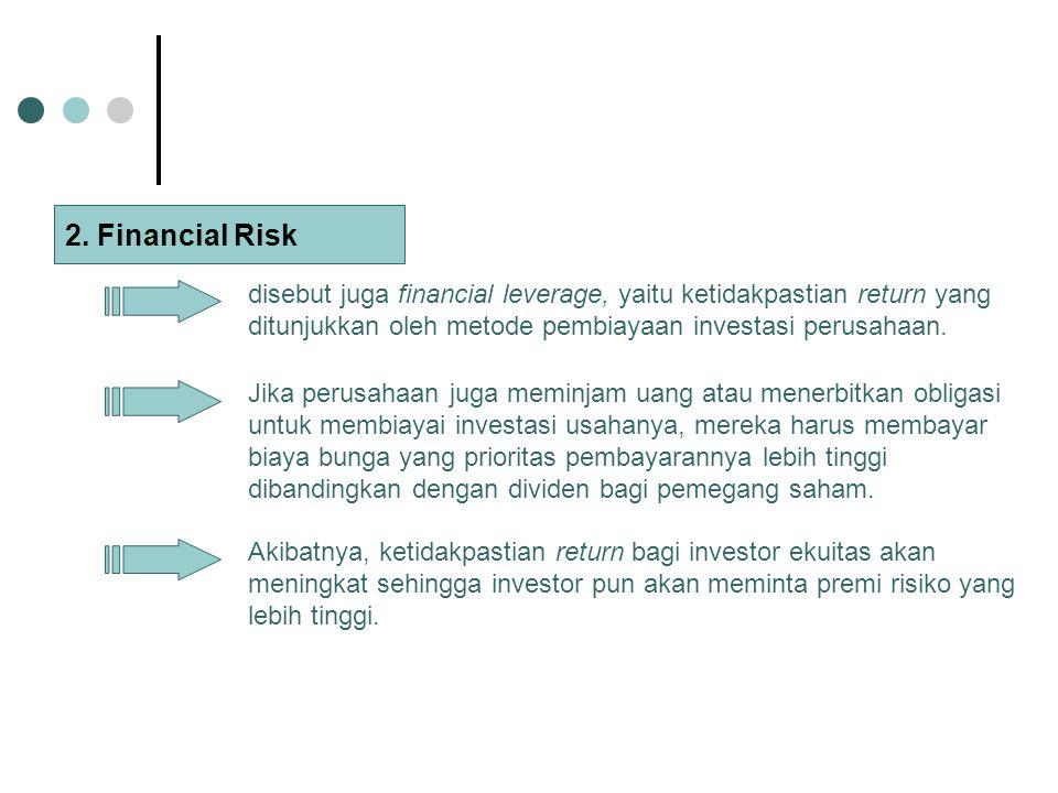 2. Financial Risk disebut juga financial leverage, yaitu ketidakpastian return yang ditunjukkan oleh metode pembiayaan investasi perusahaan.