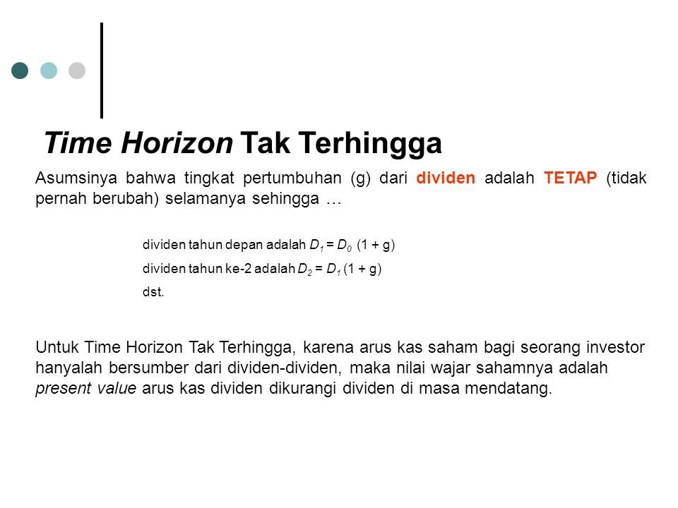 Time Horizon Tak Terhingga