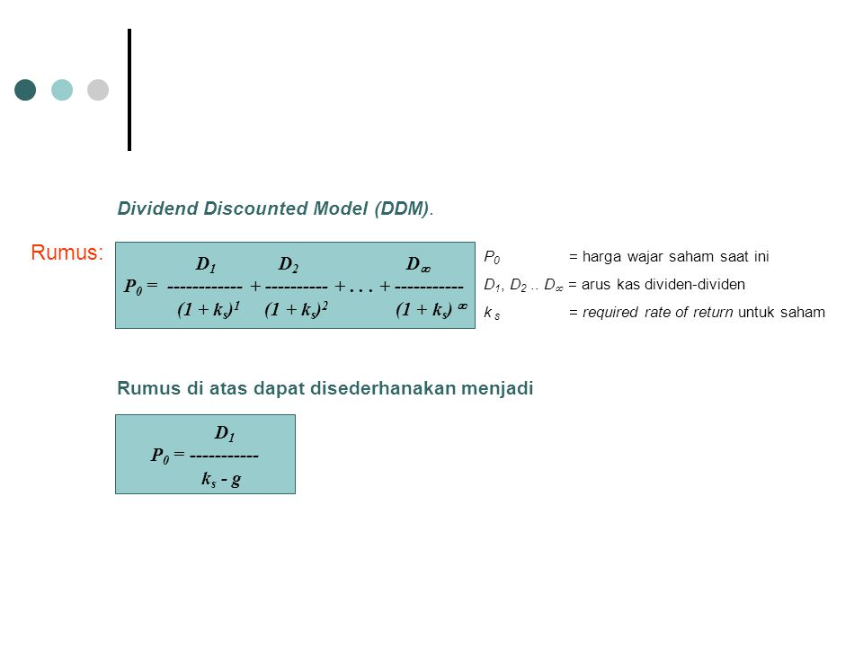 Rumus: Dividend Discounted Model (DDM). D1 D2 D
