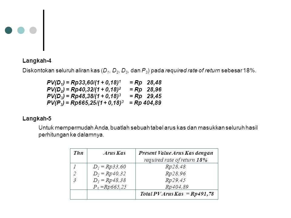 PV(D1) = Rp33,60/(1 + 0,18)1 = Rp 28,48 PV(D2) = Rp40,32/(1 + 0,18)2 = Rp 28,96. PV(D3) = Rp48,38/(1 + 0,18)3 = Rp 29,45.