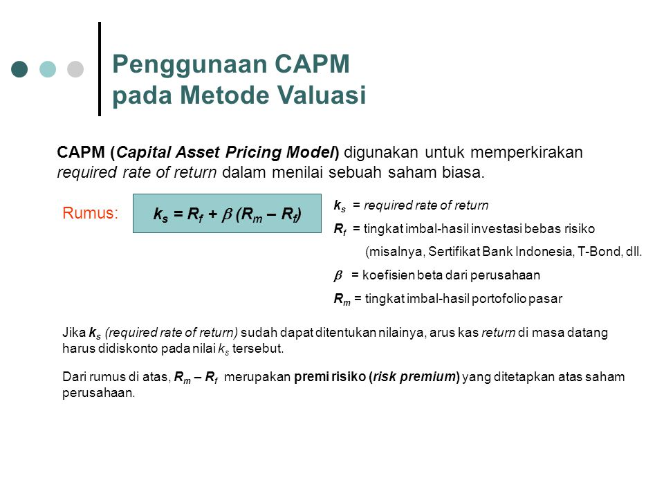Penggunaan CAPM pada Metode Valuasi
