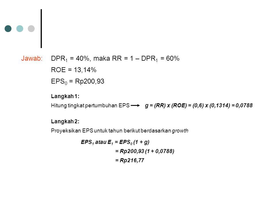 Jawab: DPR1 = 40%, maka RR = 1 – DPR1 = 60% ROE = 13,14%