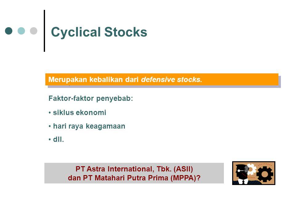 Cyclical Stocks Merupakan kebalikan dari defensive stocks.