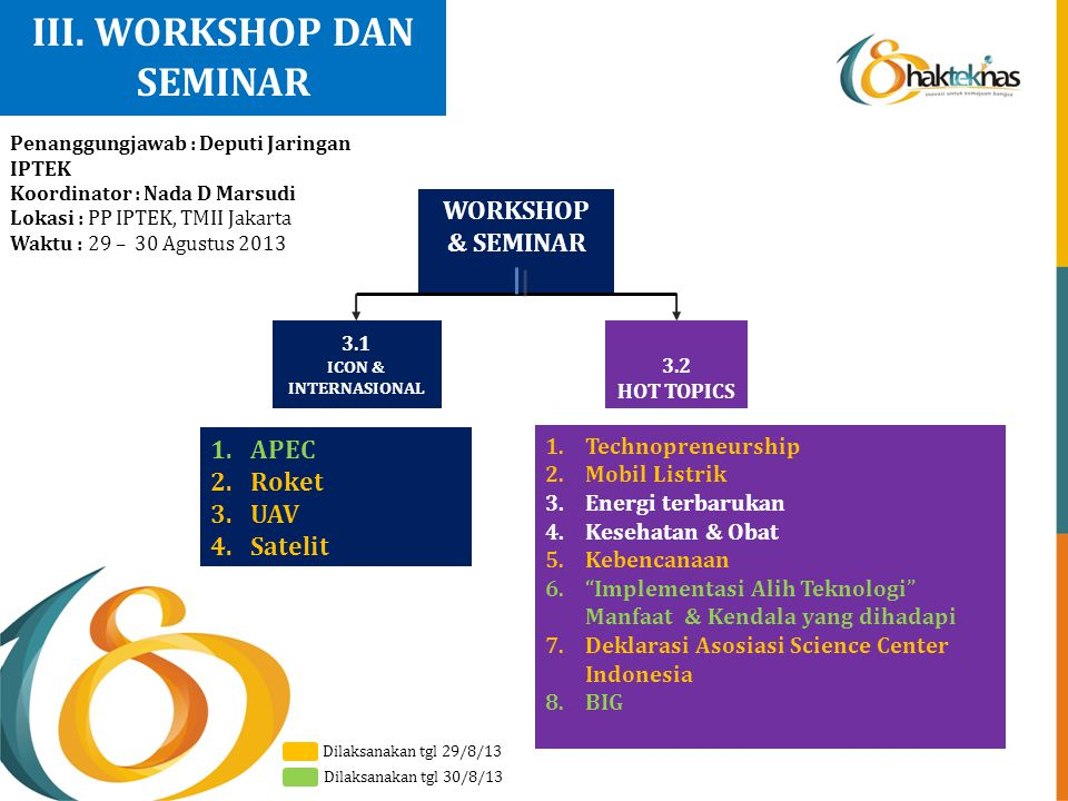 III. WORKSHOP DAN SEMINAR