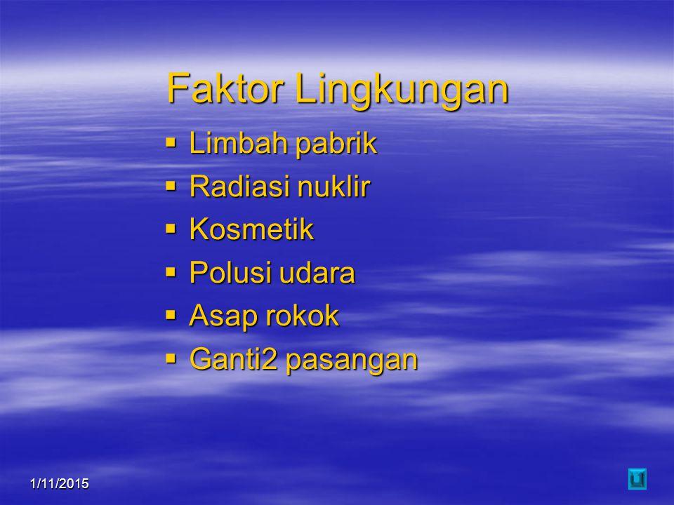 Faktor Lingkungan Limbah pabrik Radiasi nuklir Kosmetik Polusi udara