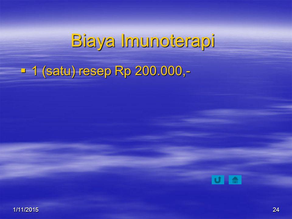Biaya Imunoterapi 1 (satu) resep Rp 200.000,- 4/8/2017