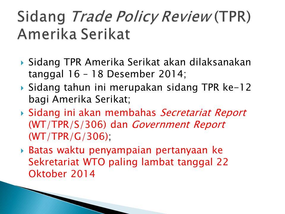Sidang Trade Policy Review (TPR) Amerika Serikat