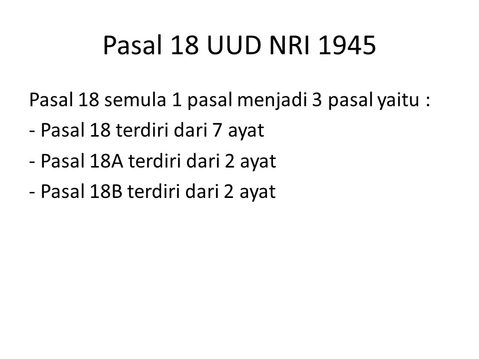 Pasal 18 UUD NRI 1945