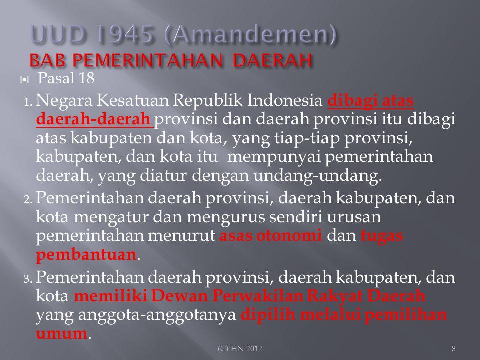 UUD 1945 (Amandemen) BAB PEMERINTAHAN DAERAH