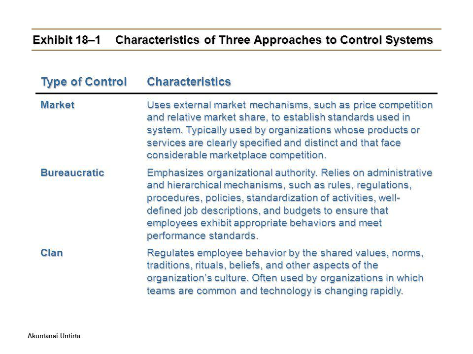 Exhibit 18–1 Characteristics of Three Approaches to Control Systems
