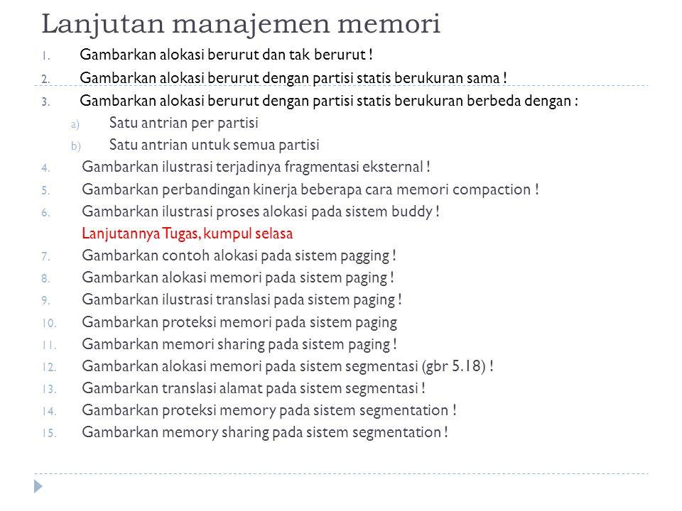 Lanjutan manajemen memori
