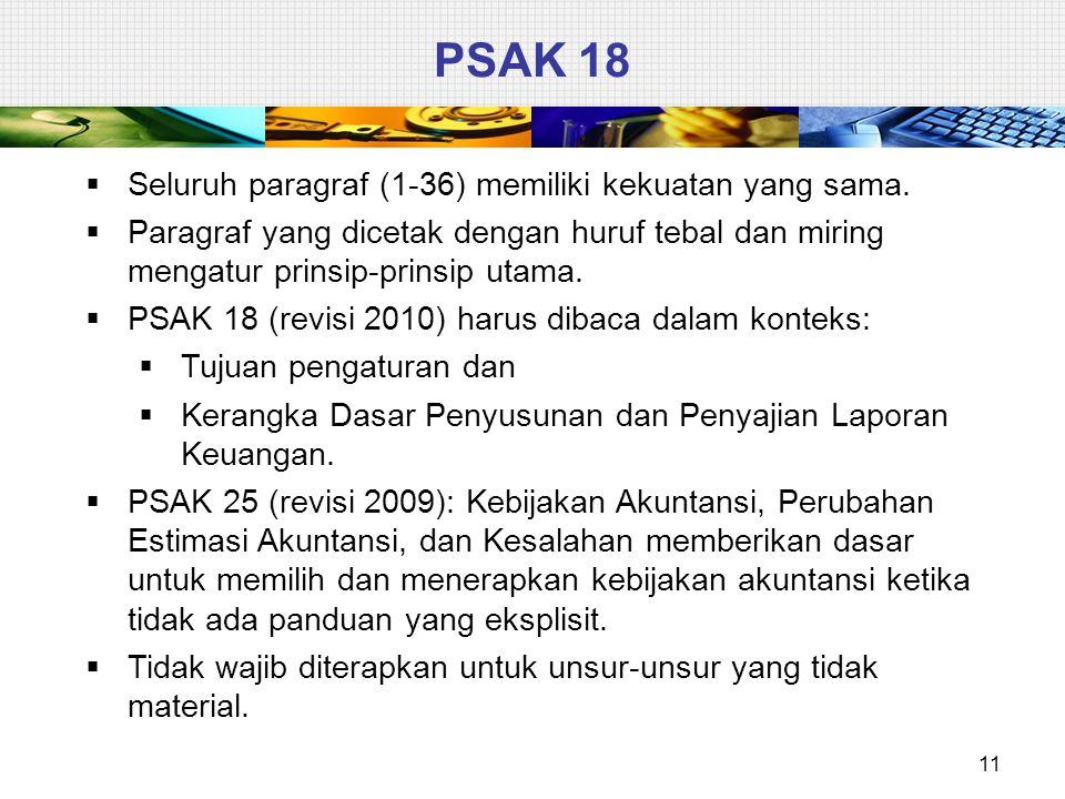 PSAK 18 Seluruh paragraf (1-36) memiliki kekuatan yang sama.