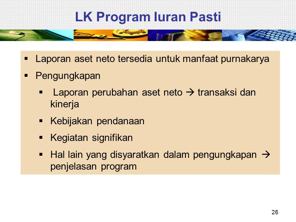 LK Program Iuran Pasti Laporan aset neto tersedia untuk manfaat purnakarya. Pengungkapan. Laporan perubahan aset neto  transaksi dan kinerja.