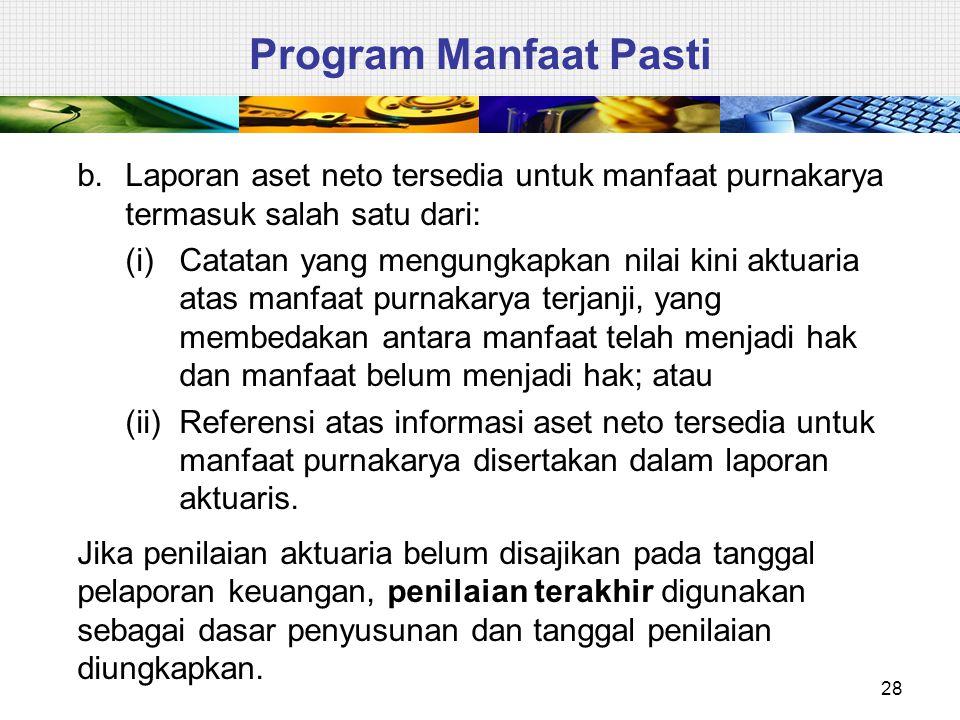 Program Manfaat Pasti Laporan aset neto tersedia untuk manfaat purnakarya termasuk salah satu dari: