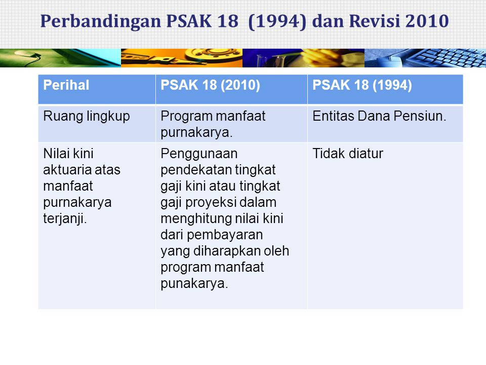 Perbandingan PSAK 18 (1994) dan Revisi 2010