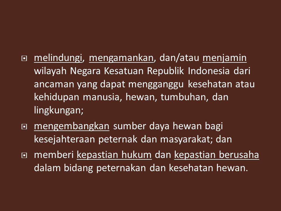 melindungi, mengamankan, dan/atau menjamin wilayah Negara Kesatuan Republik Indonesia dari ancaman yang dapat mengganggu kesehatan atau kehidupan manusia, hewan, tumbuhan, dan lingkungan;