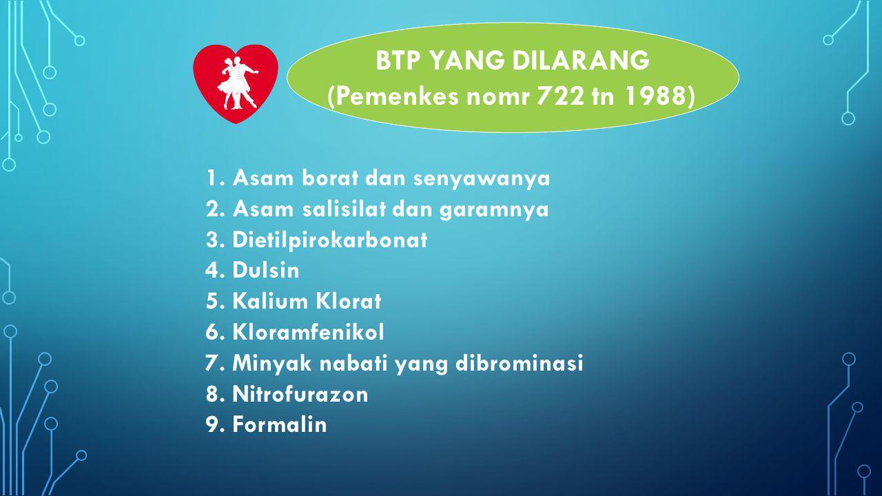 BTP YANG DILARANG (Pemenkes nomr 722 tn 1988)
