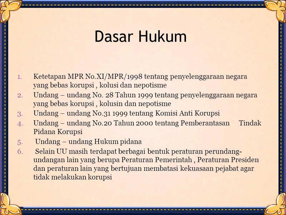 Dasar Hukum Ketetapan MPR No.XI/MPR/1998 tentang penyelenggaraan negara yang bebas korupsi , kolusi dan nepotisme.