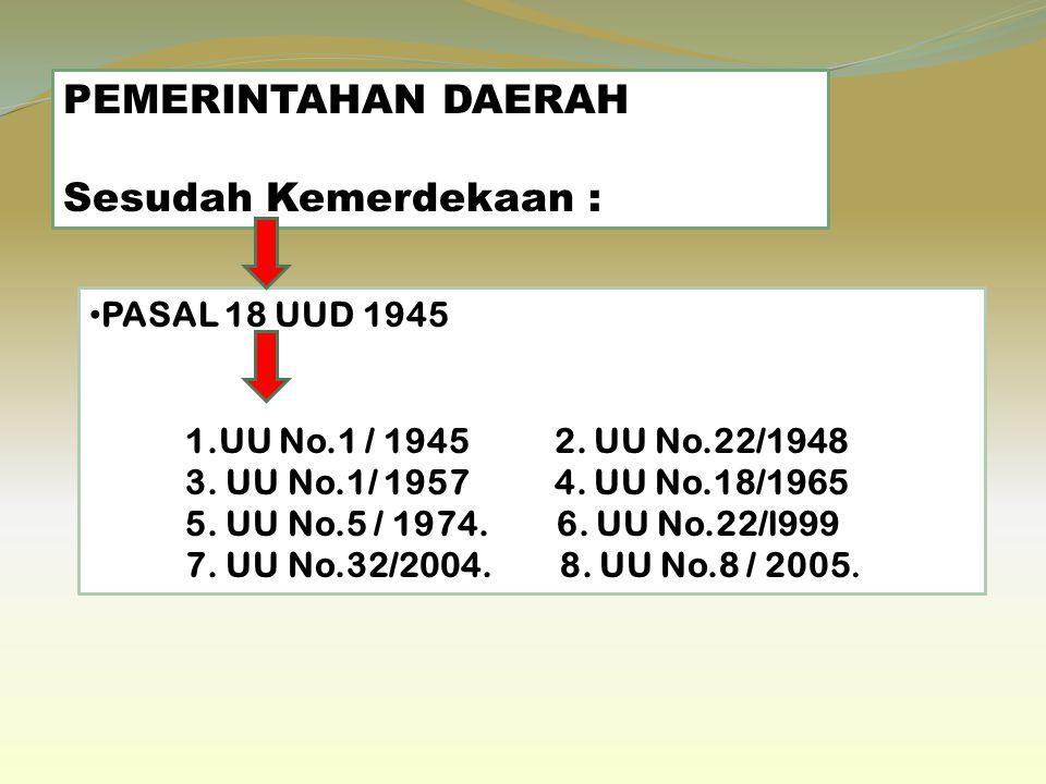 PEMERINTAHAN DAERAH Sesudah Kemerdekaan : PASAL 18 UUD 1945