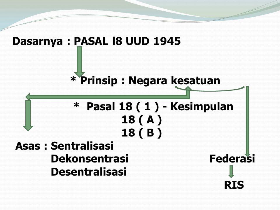Dasarnya : PASAL l8 UUD 1945 * Prinsip : Negara kesatuan. * Pasal 18 ( 1 ) - Kesimpulan. 18 ( A )