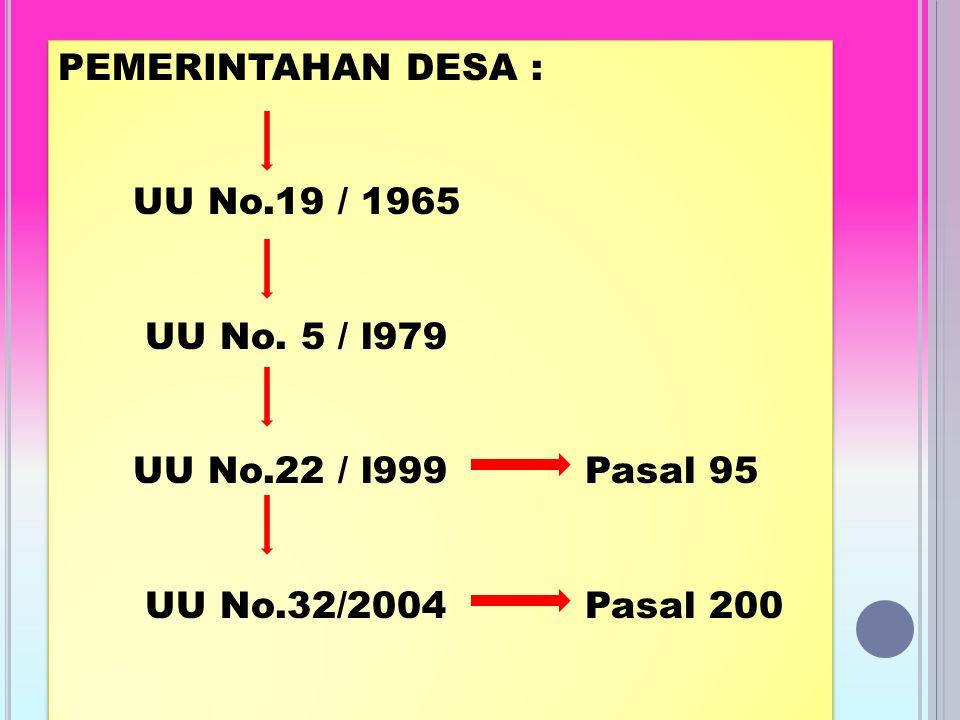 PEMERINTAHAN DESA : UU No.19 / 1965. UU No. 5 / l979.