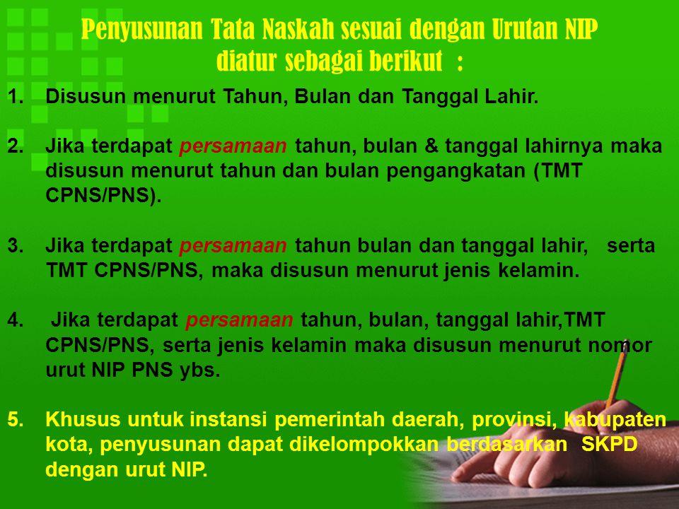 Penyusunan Tata Naskah sesuai dengan Urutan NIP diatur sebagai berikut :