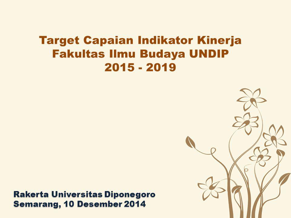 Target Capaian Indikator Kinerja Fakultas Ilmu Budaya UNDIP 2015 - 2019