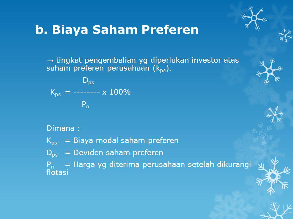 b. Biaya Saham Preferen → tingkat pengembalian yg diperlukan investor atas saham preferen perusahaan (kps).