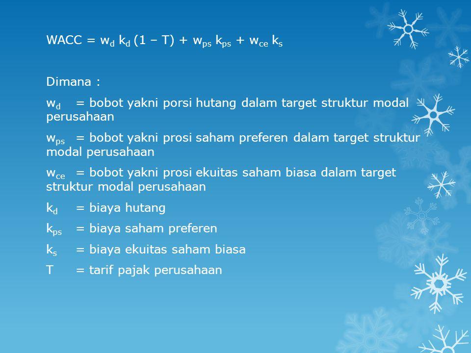 WACC = wd kd (1 – T) + wps kps + wce ks