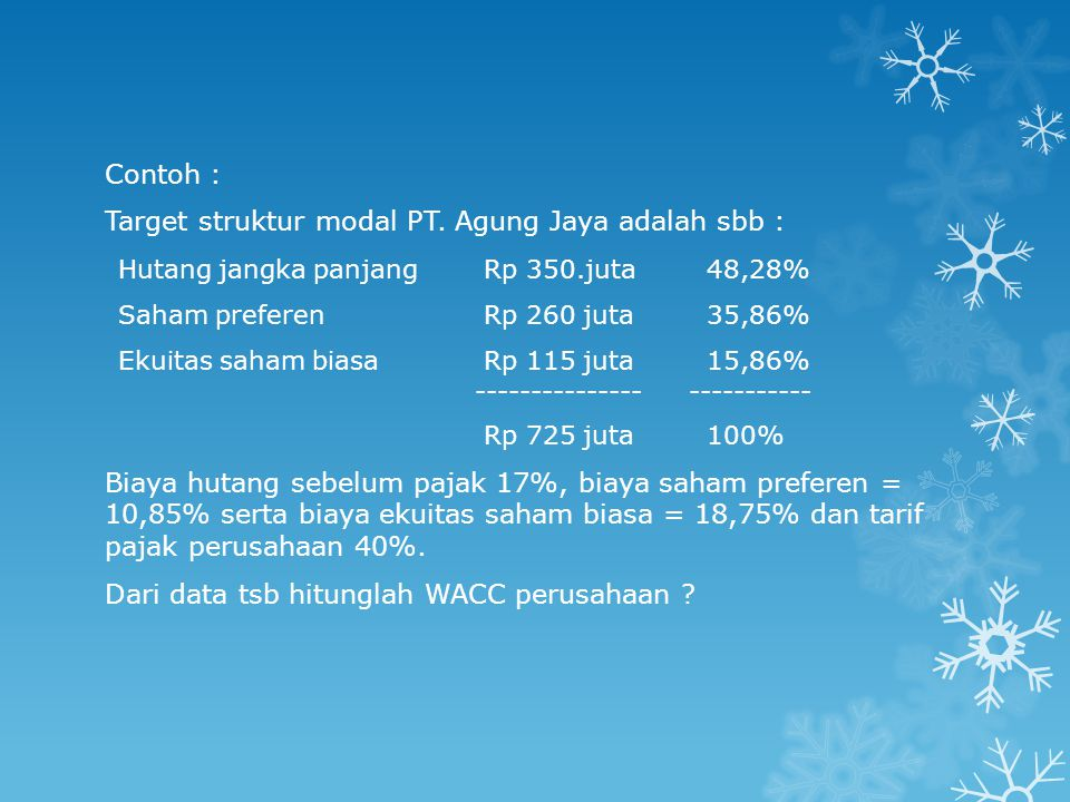 Target struktur modal PT. Agung Jaya adalah sbb :