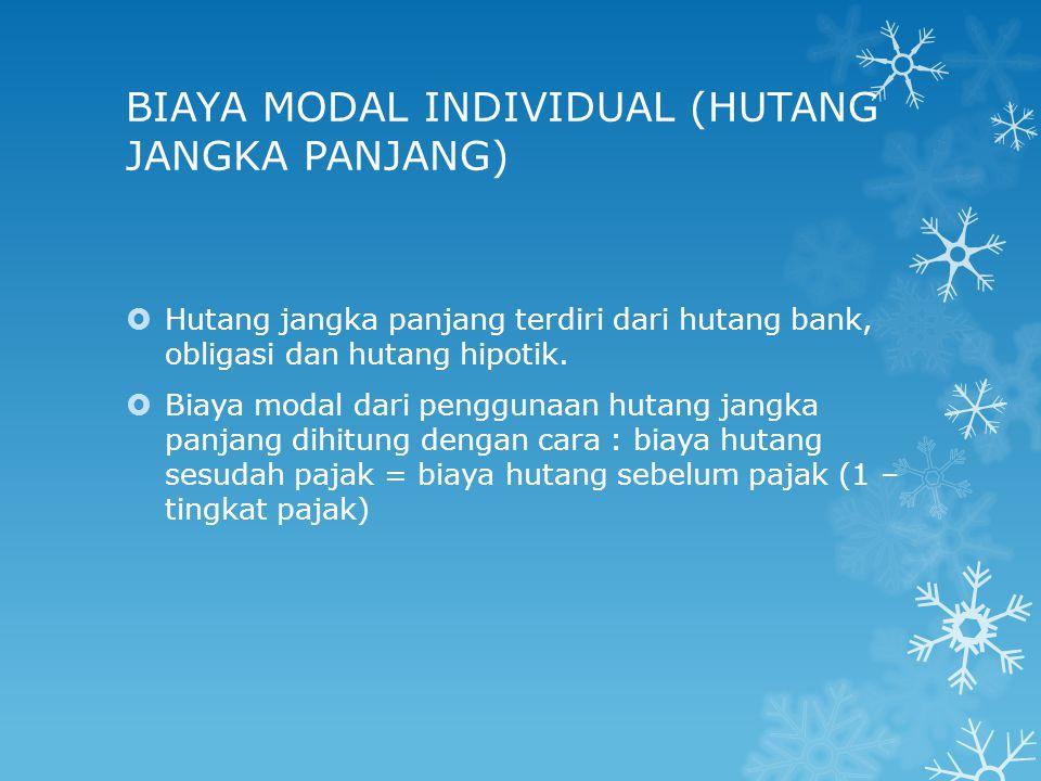 BIAYA MODAL INDIVIDUAL (HUTANG JANGKA PANJANG)