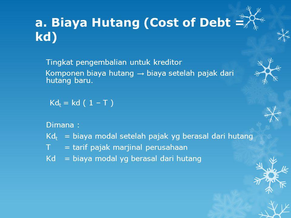 a. Biaya Hutang (Cost of Debt = kd)