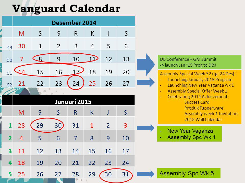 Vanguard Calendar Desember 2014 M S R K J 30 1 2 3 4 5 6 7 8 9 10 11