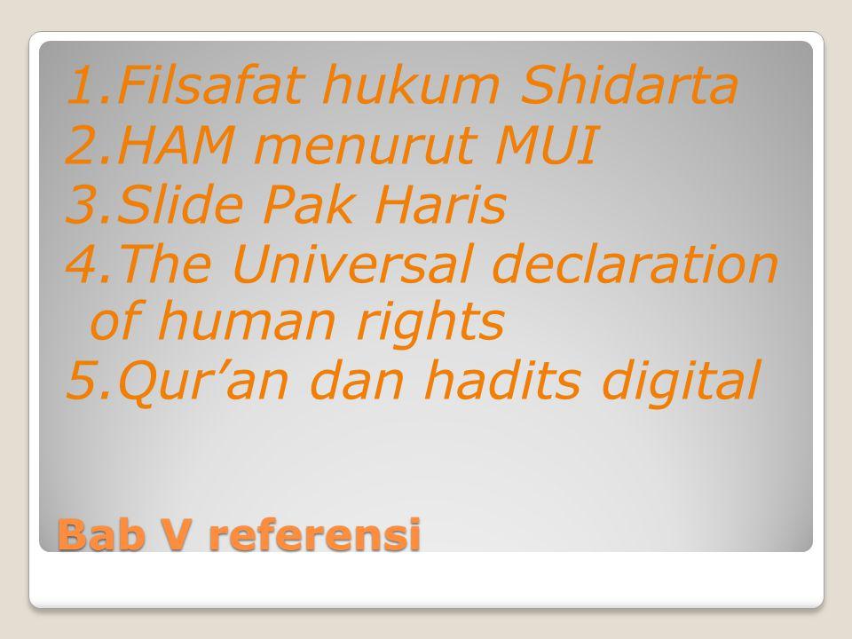 1. Filsafat hukum Shidarta 2. HAM menurut MUI 3. Slide Pak Haris 4