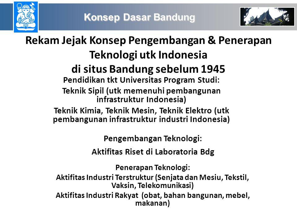 Konsep Dasar Bandung Rekam Jejak Konsep Pengembangan & Penerapan Teknologi utk Indonesia di situs Bandung sebelum 1945.