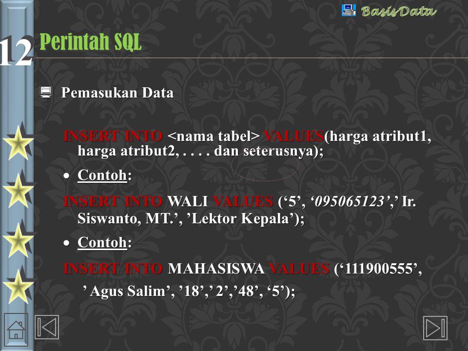 Perintah SQL Pemasukan Data